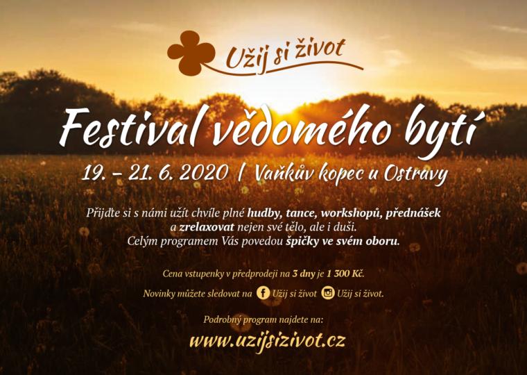 Náhradní program –  FESTIVAL VĚDOMÉHO BYTÍ  19.–21. 6. 2020
